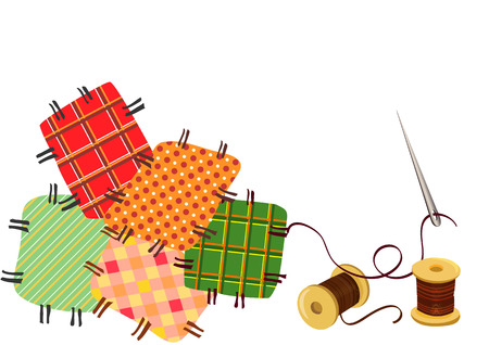 patchwork pattern: patchwork, sewing with a needle. Illustration
