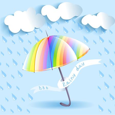 umbrella rain: rainbow umbrella and rain. Illustration