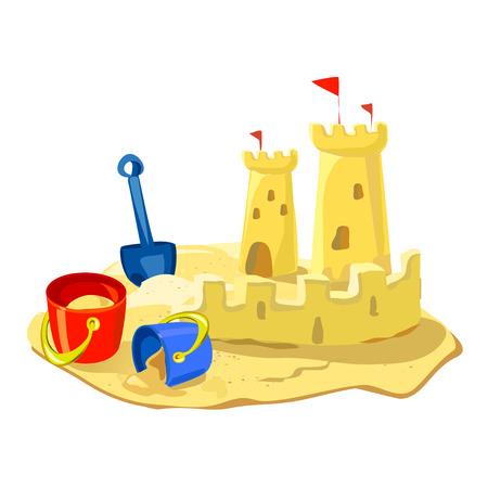 zandkasteel, strand speelgoed geïsoleerd. Stock Illustratie