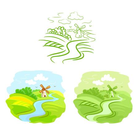 set van schetsen landelijke landschap.