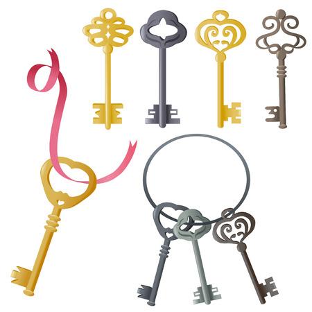 old key: set of vintage door keys.