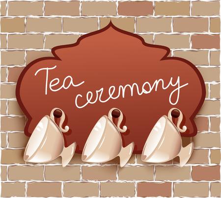 tea ceremony: tea cups with signboard.