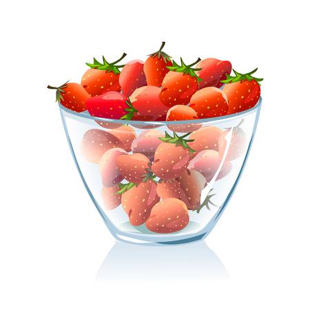 transparante kom met aardbeien.