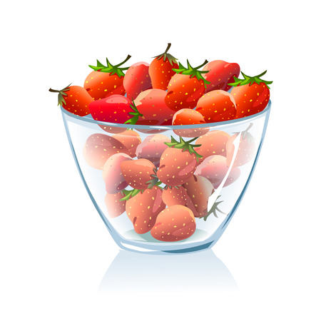 transparent bowl with strawberries.