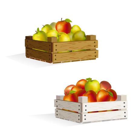 twee kisten appels. Stock Illustratie