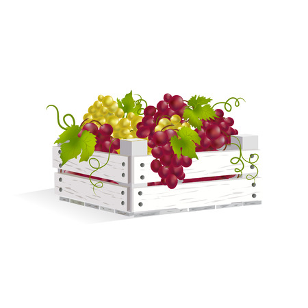 wooden box with grapes.