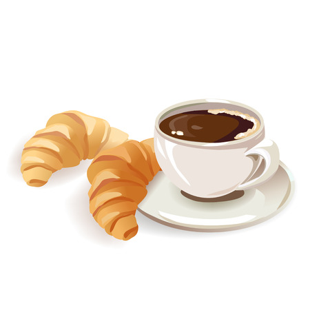 Frans ontbijt met koffie en croissants