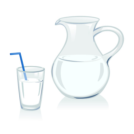water jug: jug and glass with milk
