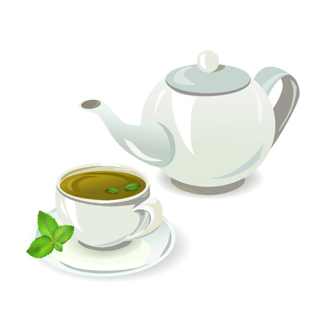 teapot and cup with tea Illustration