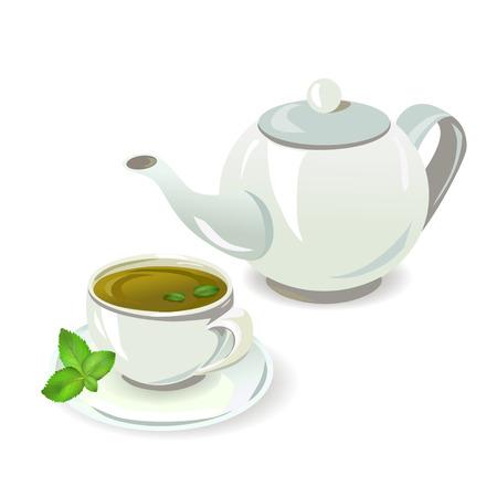 theepot en beker met thee