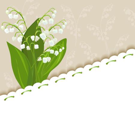 vintage achtergrond met lelies van de vallei. vector illustratie
