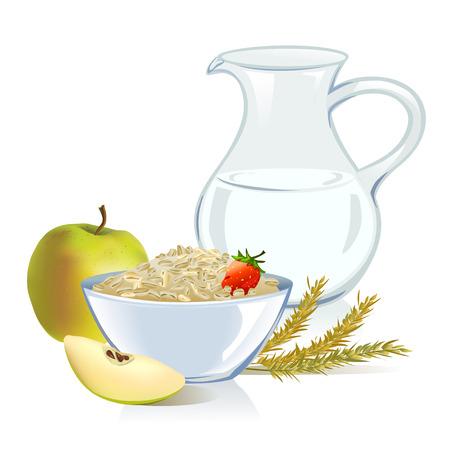 gesunde Lebensmittel, Getreide, Milch, Apfel. Illustration