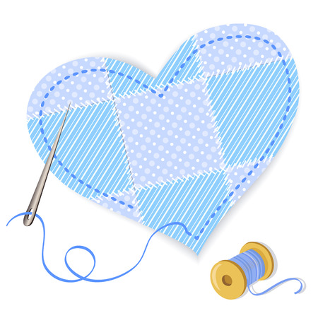 heart patchwork and thread.