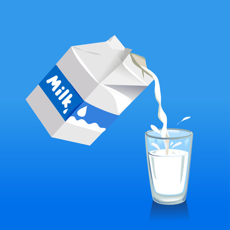 Pouring milk into a glass.  Vector