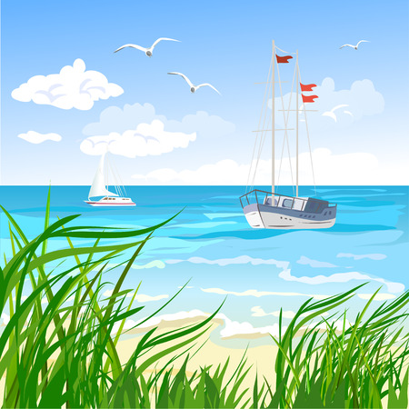 ocean view: sea, beach and yacht.  Illustration