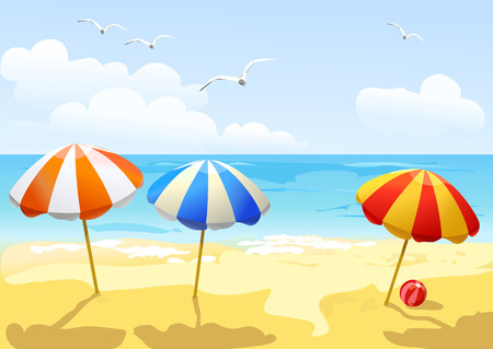 beach and three sun umbrellas.  Illustration