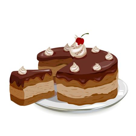 rebanada de pastel: pastel de chocolate con cerezas en un plato. Vectores