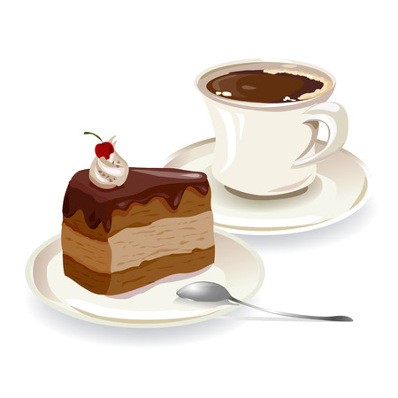 cup of coffee and a piece of cake.   Illustration