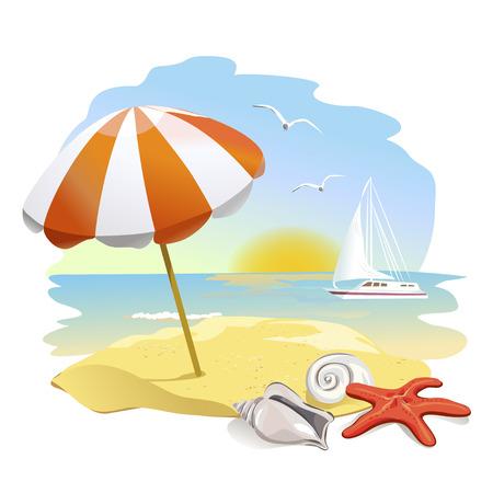 Symbol zum Strand, Sonnenschirm und Muscheln.