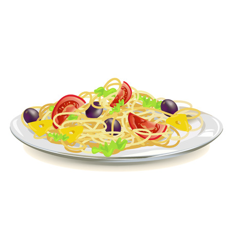 italian pasta: Pastas italianas en un plato aislado. Vectores