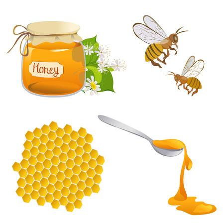 honeyed: set of honeyed symbols.  Illustration