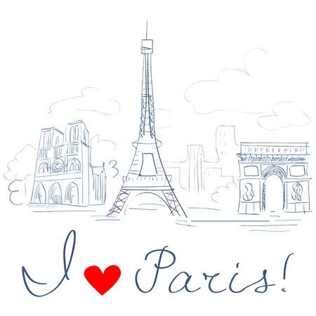 schets van de stad Parijs.