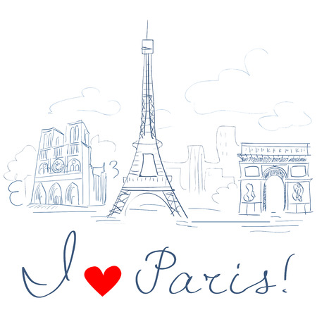 sketch of the city, Paris.  Vector