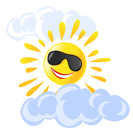 sun and clouds cartoon.