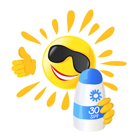 sol caricatura: sol y protector solar aislado.