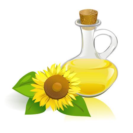 Zonnebloem en plantaardige olie.