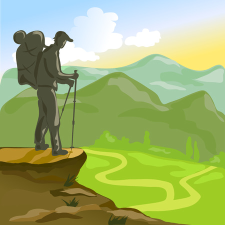 mountain climber: Trekking man with a backpack in the mountains.
