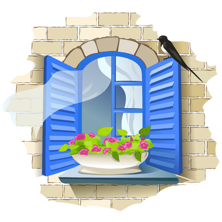 Vintage window with flowers. vector illustration Vector