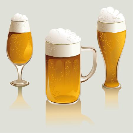 dark lager: set of beer glasses.  Illustration