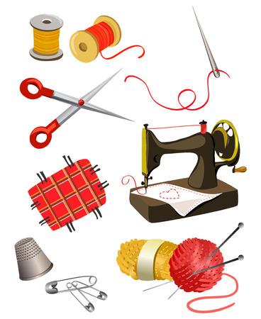 geheel van elementen voor handwerken. Stock Illustratie