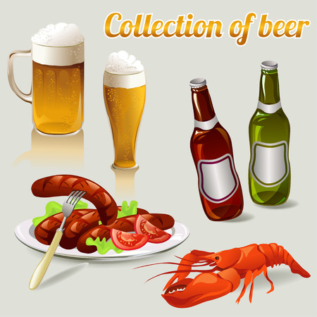 set of elements of beer.  Illustration