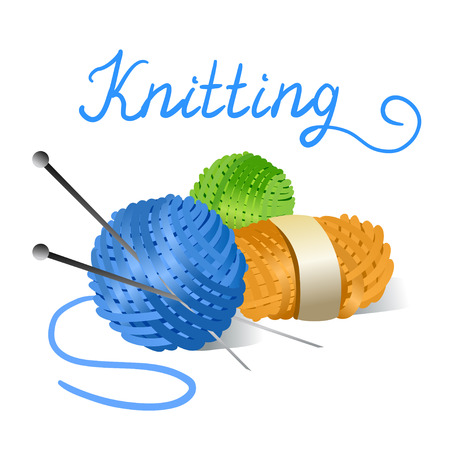 knitting needles: skein of yarn and knitting needles.