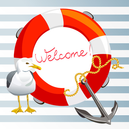 striped background with anchor, lifeline and seagull.  Çizim