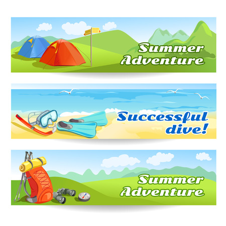 Three banners with traveling equipment.  Illustration