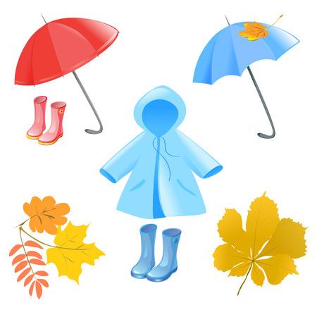raincoat: autumn items illustration