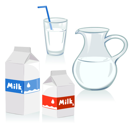 pasteurized: different set of containers for milk Illustration