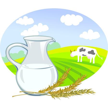 spikelets: jug with milk, spikelets and rural landscape illustration Illustration