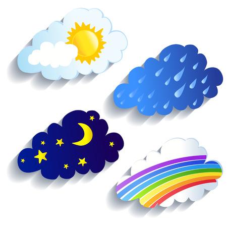 set of clouds, weather, time of day illustration Ilustração