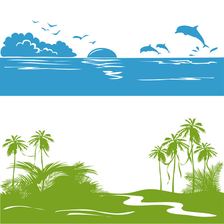 dolphin silhouette: banner with a sea view and the tropics, silhouette. vector illustration Illustration