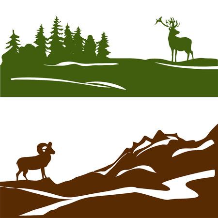 montagna: banner con il paesaggio di montagna e foreste, silhouette. illustrazione vettoriale Vettoriali