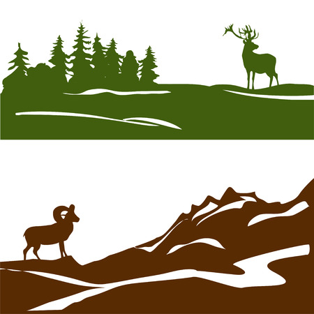 mountain goats: banner with the mountain landscape and forest, silhouette. vector illustration Illustration