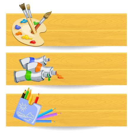 banners met tekengereedschappen. vector illustratie Stock Illustratie
