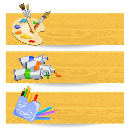 banners with drawing tools. vector illustration