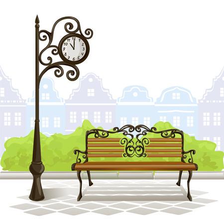 muebles antiguos: banco, reloj de la calle, la ciudad vieja. ilustración vectorial