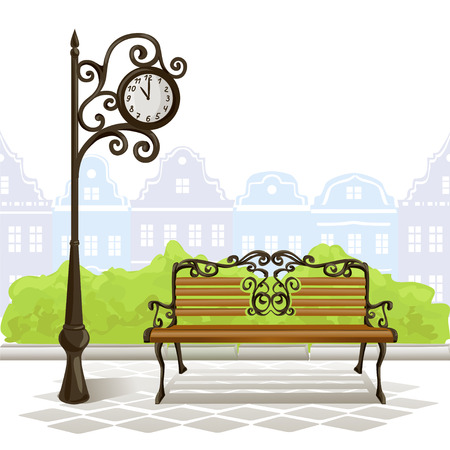 antique furniture: bench, street clock, old town. vector illustration