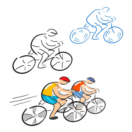 bicyclists, racing cyclist, sketch. vector illustration Vector
